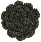 hande made wool flower forrest green
