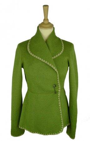 Eva kofta i grön jacquardvävd ull 03215d0860706